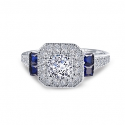 Sterling Silver Simulated Diamond & Simulated Sapphire Ring by Lafonn Jewelry