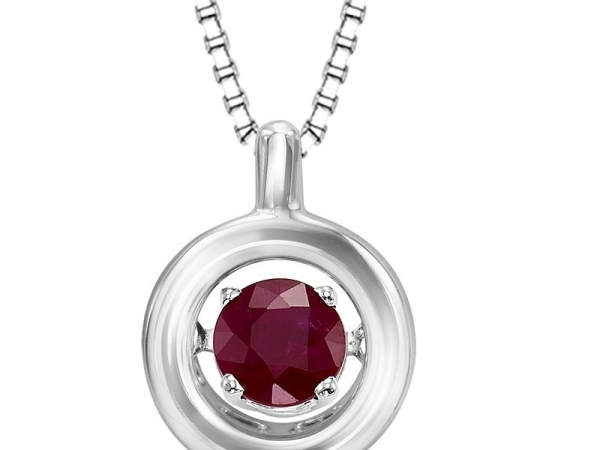 Sterling Silver Ruby Rhythm of Love Necklace by Gems One