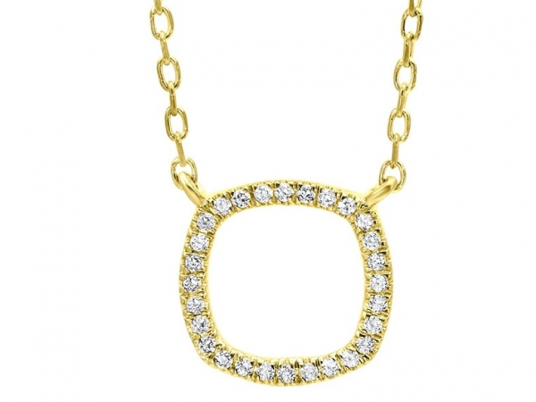 Yellow Gold Diamond Cushion Necklace by Gems One