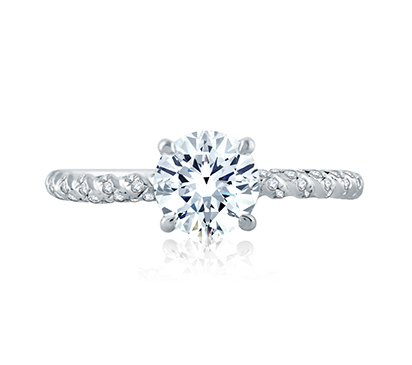 Tightly Twisted Diamond Shank Round Solitaire Engagement Ring by A. Jaffe