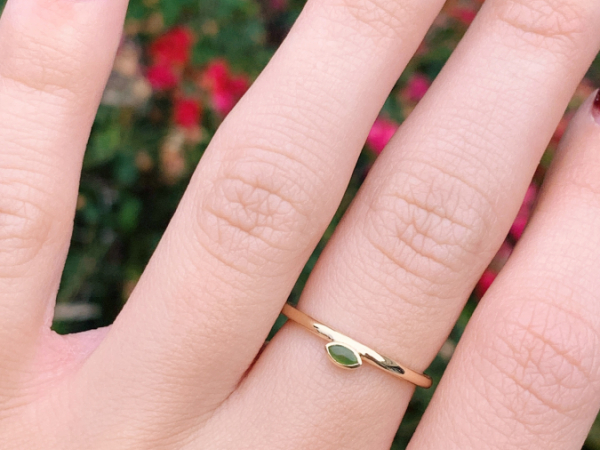 10K Yellow Gold 4x2 MM Jade Stacking Ring by Stuller