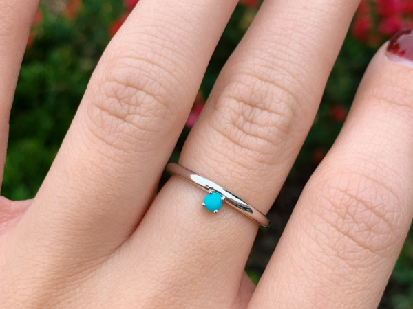 10K White Gold 3 MM Turquoise Stacking Ring by Stuller