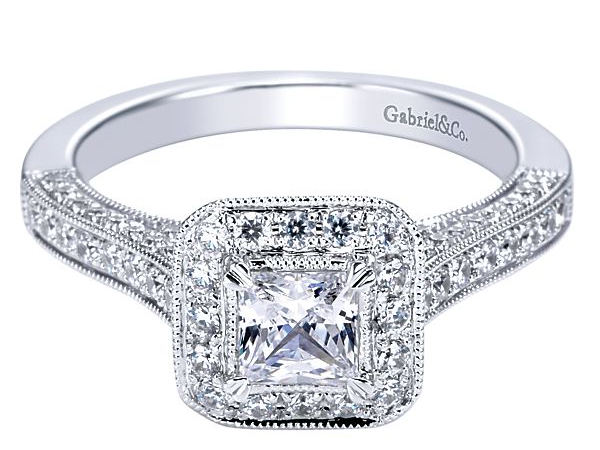 Square Halo Style Diamond Semi-Mount by Gabriel & Co