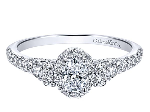 Oval Halo Style Diamond Engagement Ring by Gabriel & Co