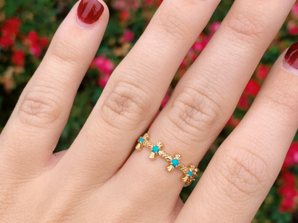 14K Yellow Gold Turquoise Cross Stacking Ring by Stuller