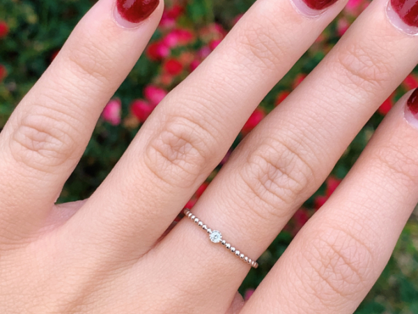 14K White Gold 0.03 CT Diamond Stacking Ring by Stuller