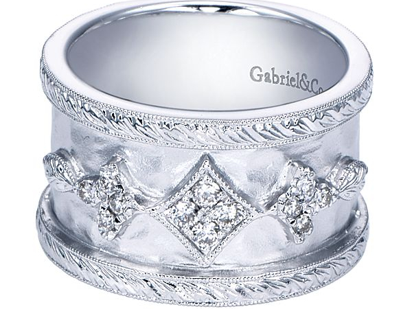 Sterling Silver Fluer De Lis Ring by Gabriel & Co