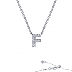 "STERLING SILVER SIMULATED DIAMOND INITIAL ""F"" NECKLACE by Lafonn Jewelry"