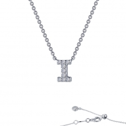 "STERLING SILVER SIMULATED DIAMOND INITIAL ""I"" NECKLACE by Lafonn Jewelry"