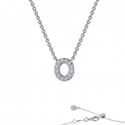 "STERLING SILVER SIMULATED DIAMOND INITIAL ""O"" NECKLACE by Lafonn Jewelry"