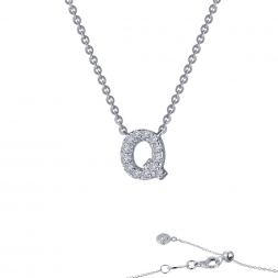 "STERLING SILVER SIMULATED DIAMOND INITIAL ""Q"" NECKLACE by Lafonn Jewelry"