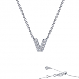 "STERLING SILVER SIMULATED DIAMOND INITIAL ""V"" NECKLACE by Lafonn Jewelry"