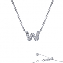 "STERLING SILVER SIMULATED DIAMOND INITIAL ""W"" NECKLACE by Lafonn Jewelry"
