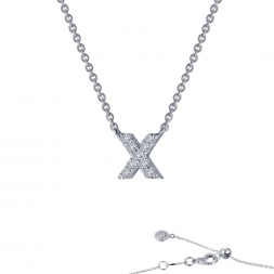 "STERLING SILVER SIMULATED DIAMOND INITIAL ""X"" NECKLACE by Lafonn Jewelry"