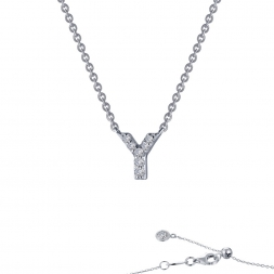 "STERLING SILVER SIMULATED DIAMOND INITIAL ""Y"" NECKLACE by Lafonn Jewelry"