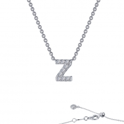 "STERLING SILVER SIMULATED DIAMOND INITIAL ""Z"" NECKLACE by Lafonn Jewelry"