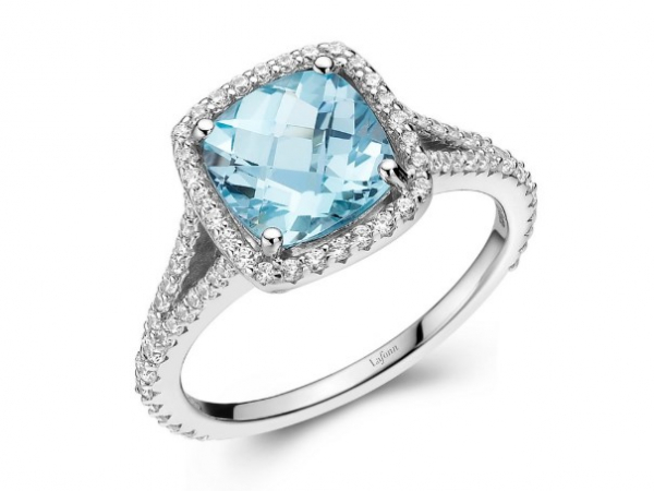 Platinum-Plated Silver Genuine Blue Topaz + Lassaire Fashion Ring by Lafonn Jewelry