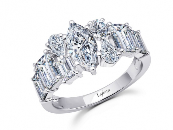 Platinum-Plated Silver Simulated Diamond Fashion Ring by Lafonn Jewelry