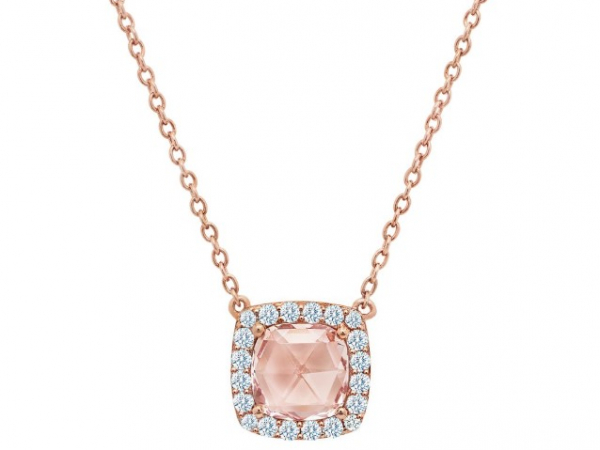 Platinum-Plated Silver Simulated Morganite + Diamond Necklace by Lafonn Jewelry