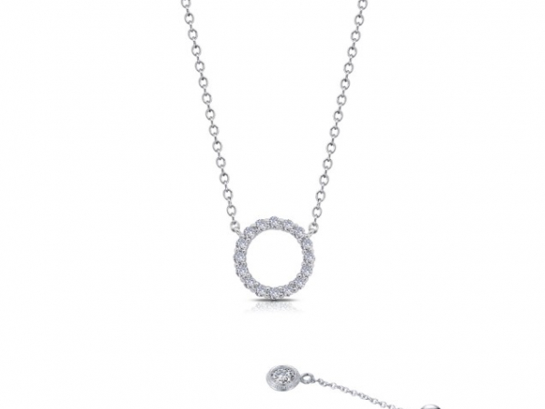 Platinum-Plated Silver Simulated Diamond Circle Necklace by Lafonn Jewelry