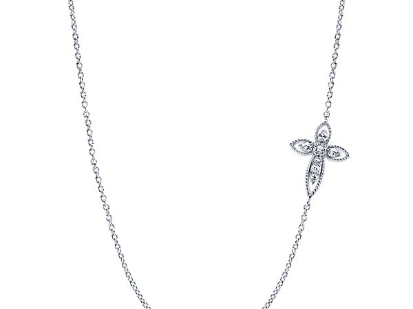 Sterling Silver White Sapphire Side-ways Cross by Gabriel & Co