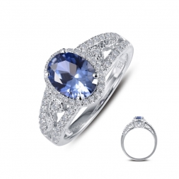Sterling Silver Simulated Tanzanite and Simulated Diamond Ring by Lafonn Jewelry