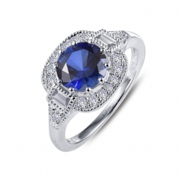 Sterling Silver Simulated Sapphire & Simulated Diamond Ring by Lafonn Jewelry