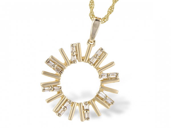 14k Baguette Diamond Necklace by Allison Kaufman