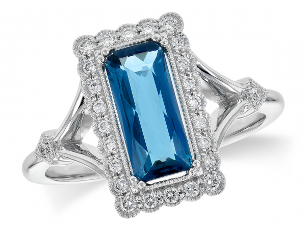 14k London Blue Topaz + Diamond Fashion Ring by Allison Kaufman