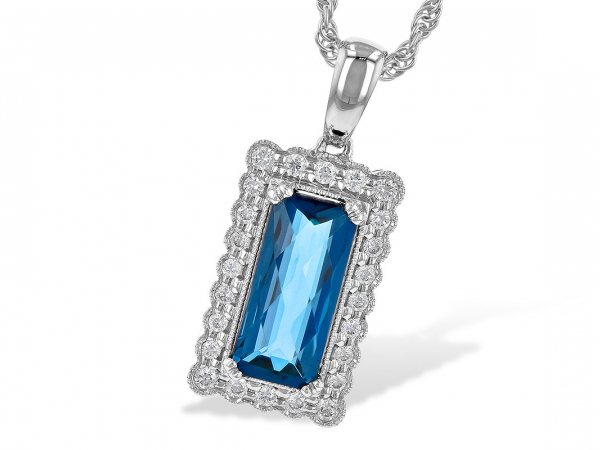 14k London Blue Topaz + Diamond Necklace by Allison Kaufman