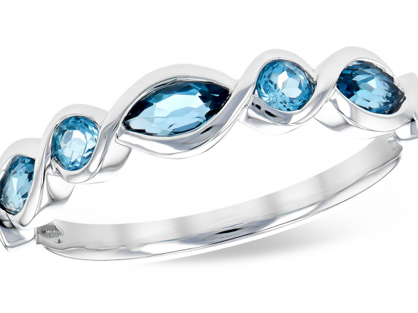 14k London Blue + Swiss Blue Topaz Stackable Ring by Allison Kaufman