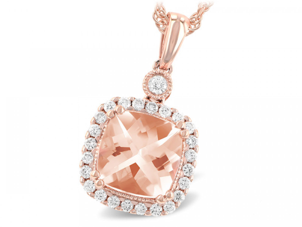 14k Morganite + Diamond Halo Necklace by Allison Kaufman