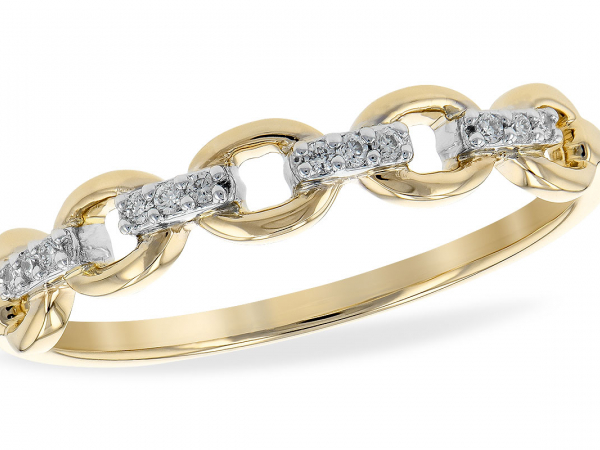 14k Oval Links Diamond Band by Allison Kaufman