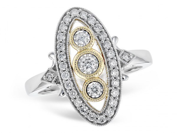 14k Two-Tone Vintage-Style Diamond Ring by Allison Kaufman