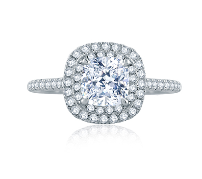 Delicate Cushion Double Halo Belted Gallery Engagement Ring by A. Jaffe