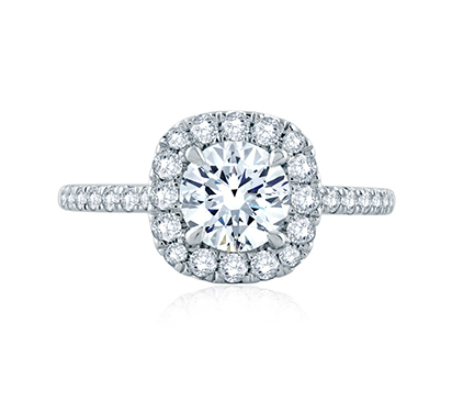 Round Center with Cushion Halo Engagement Ring with Belted Gallery Detail by A. Jaffe