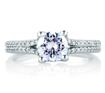 Classic Pave Split Shank Engagement Ring by A. Jaffe