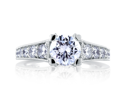 Classic Milgrain Double Prong Engagement Ring by A. Jaffe