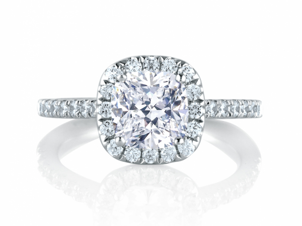 Intricate Milgrain Accent Gallery Detail Round Center with Cushion Shaped Halo Engagement Ring by A. Jaffe