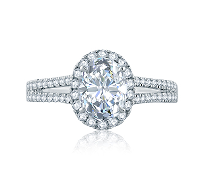Split Shank Oval Halo Gallery Detail Engagement Ring by A. Jaffe